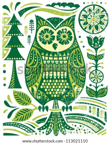 ornate woodblock style owl