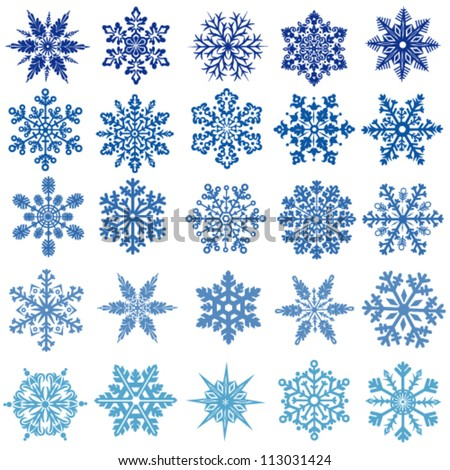 set of vectors snowflakes