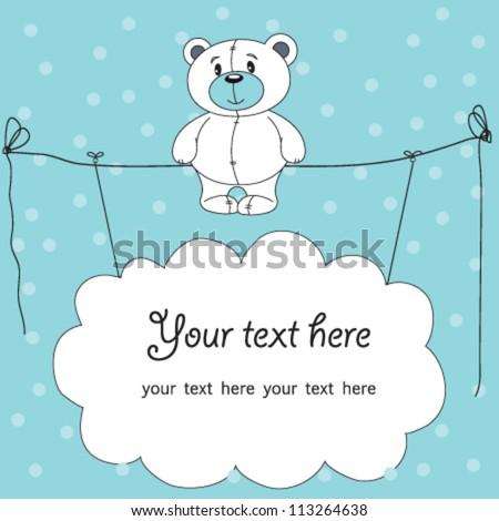 cute teddy bear with blue