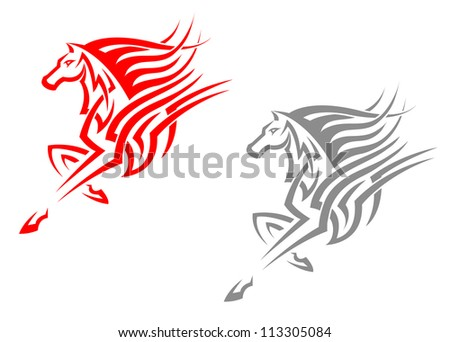 horse mascots in tribal style