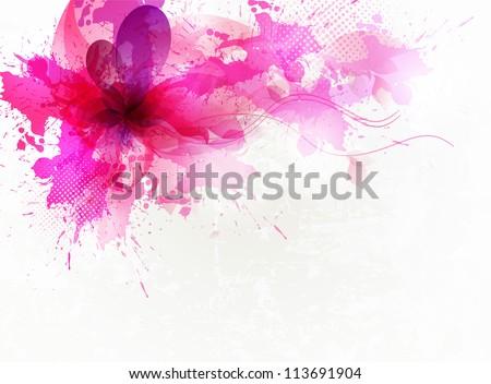 vintage  pink flower vector