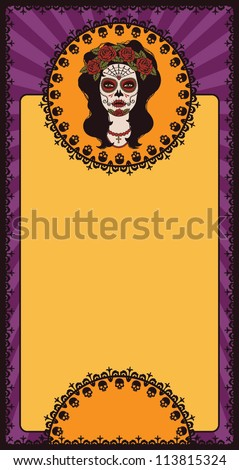 mexican frame with sugar skull
