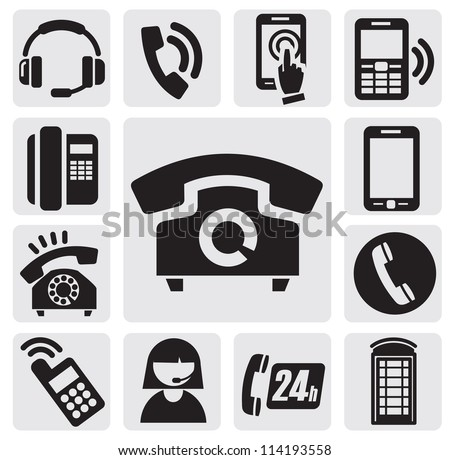 vector black phone icons set on