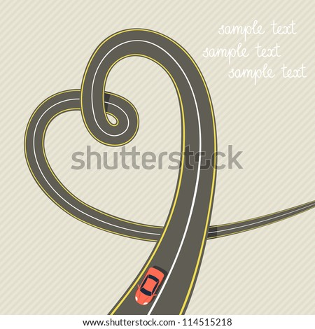 vector road in form of heart