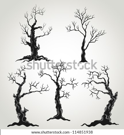 black trees silhouette isolated