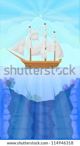 vector illustration of ship at