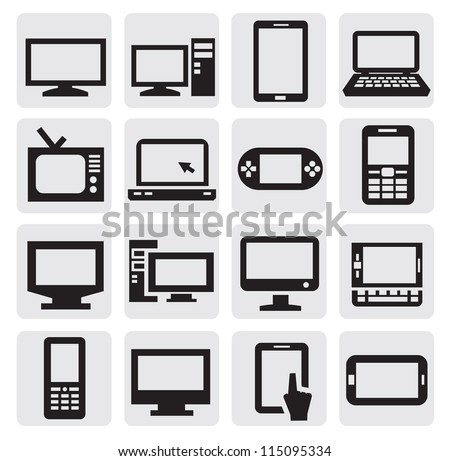 vector black electronic devices