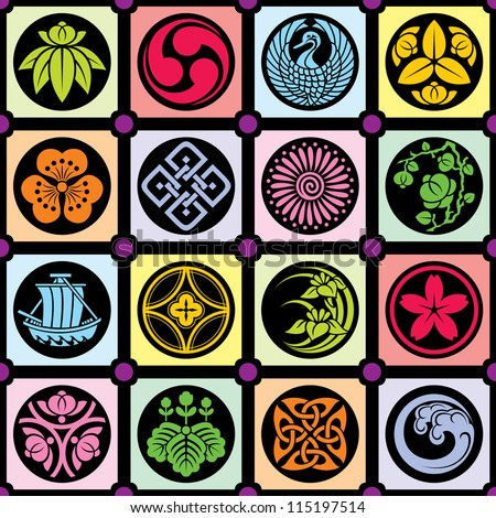 set vector traditional japanese