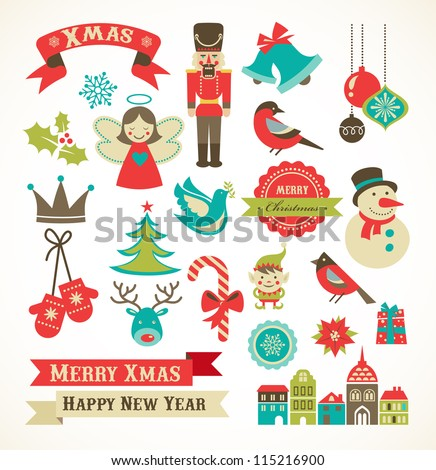 stock-vector-christmas-retro-icons-elements-and-illustrations