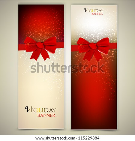 greeting cards with red bows