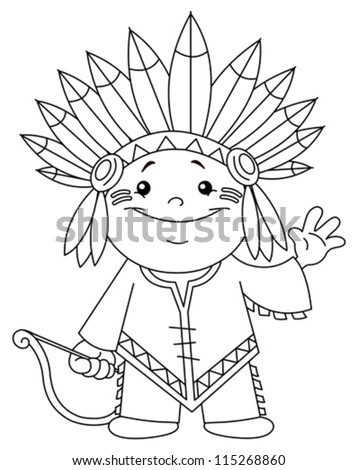 outlined indian kid coloring