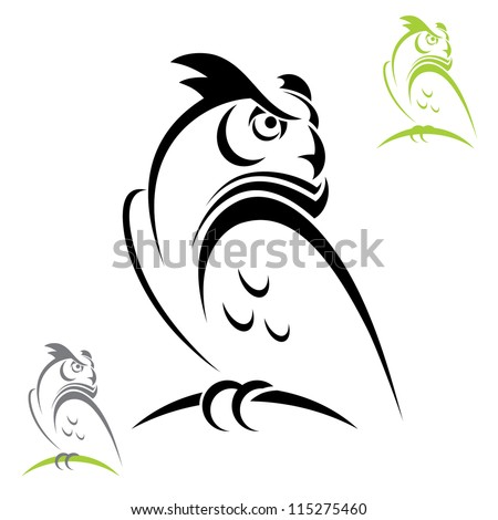 horned owl   vector illustration