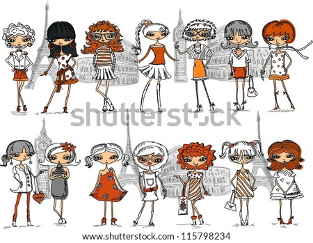cartoon fashionable girls
