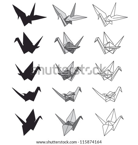 set of paper cranes on white