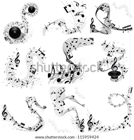 musical note staff set nine