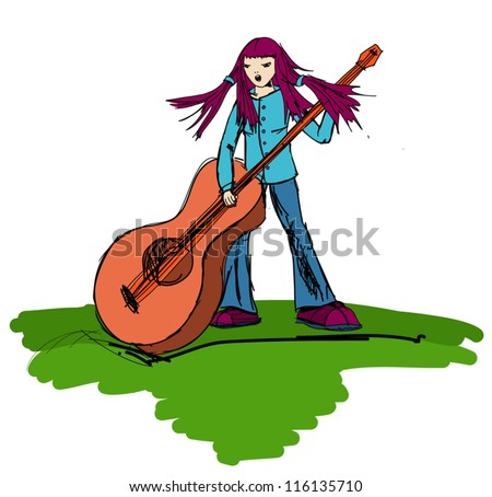 hippie girl playing on a big