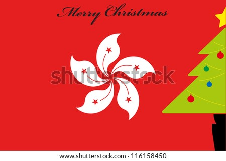 christmas tree over the flag of