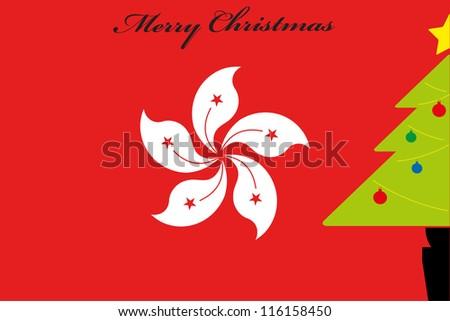 christmas tree over the flag of