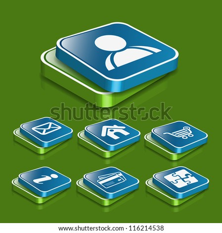 set of 3d vector user web icon