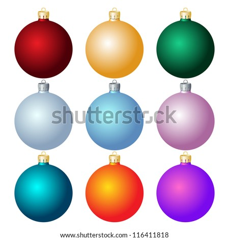 set of christmas balls on white