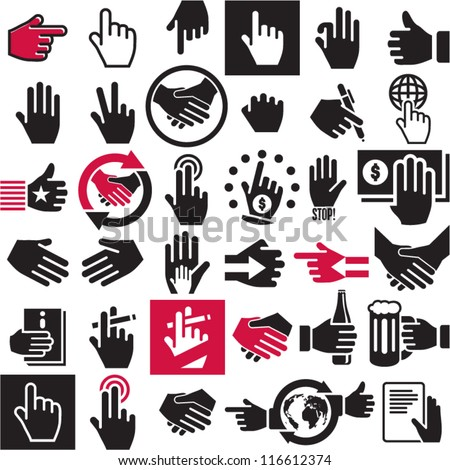 hand icons set handshake