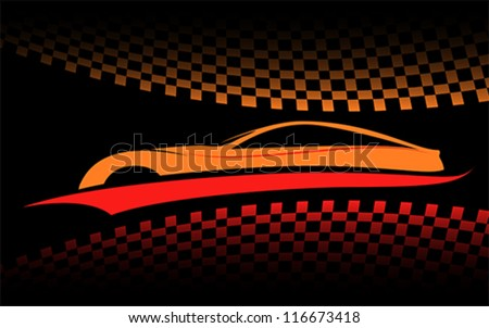 red orange car vector symbol
