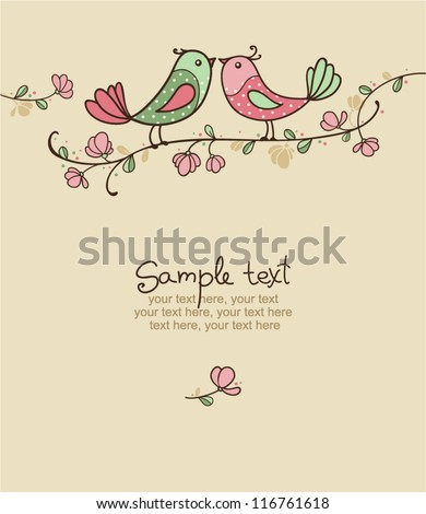 card with birds   invitation