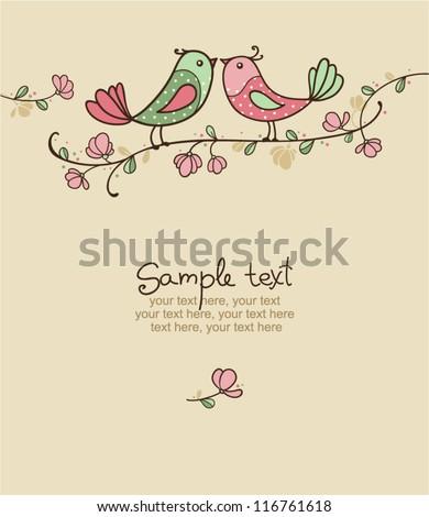 card with birds   invitation