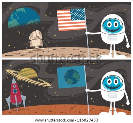 space scenes  cartoon