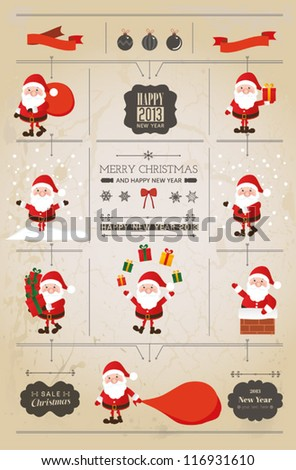 set of santa claus christmas