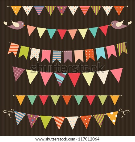 retro bunting and garland set