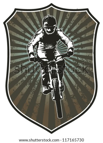 racing shield with bike rider