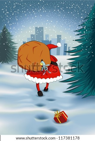 santa claus walking towards a