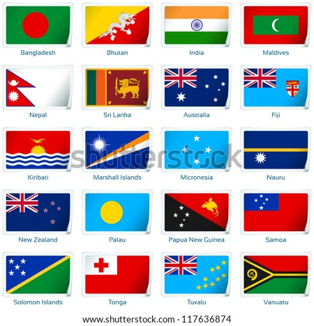 sticker flags  south asia and