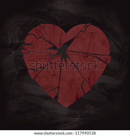 grunge broken heart design with