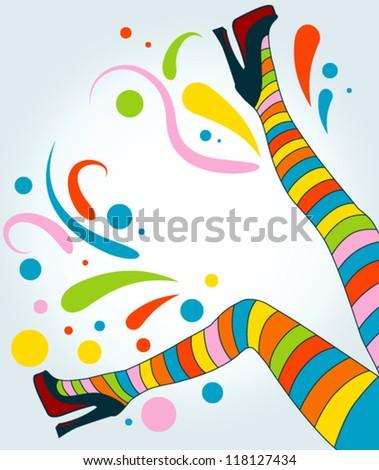 vector women legs colored