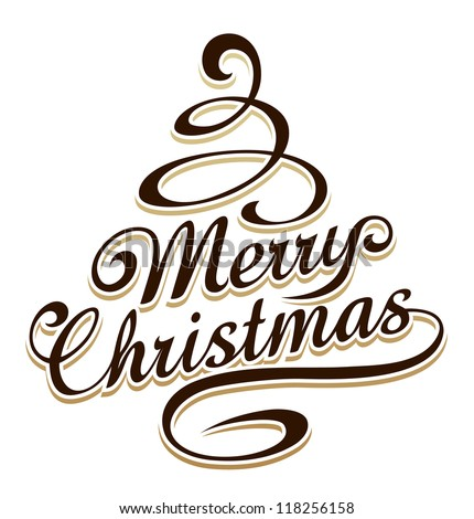 merry christmas typography with