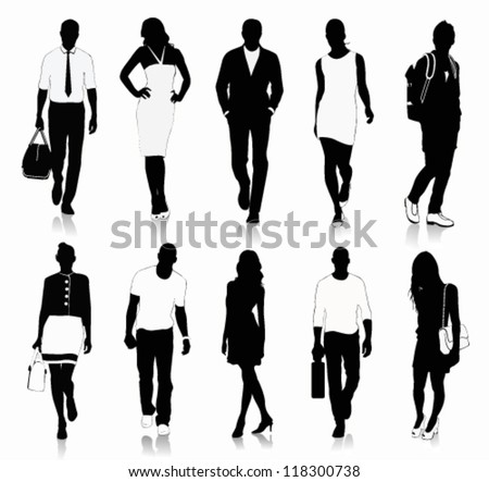 Stock-vector-collection-of-people-silhouettes