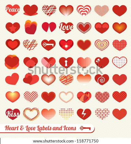 vector set  heart and love