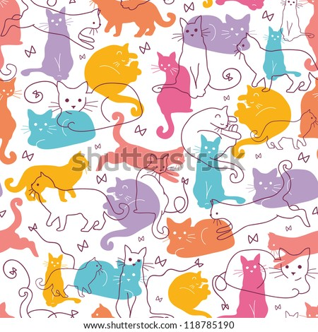 vector colorful cats seamless