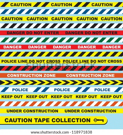 vector set  caution tape labels