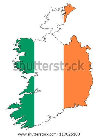 ireland vector map with the