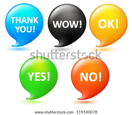 five vector speech bubbles