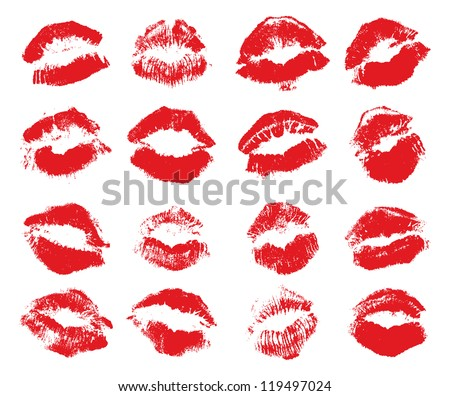 red lips imprint isolated on