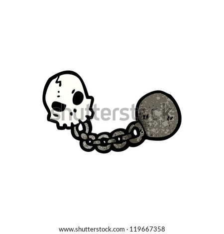 cartoon skull with ball and