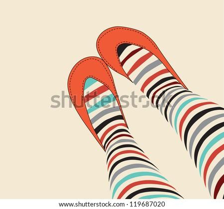 female legs in funny striped