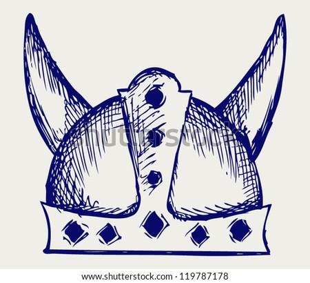 viking helmet doodle style