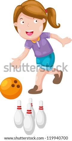 girl bowling isolated on white