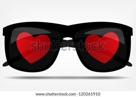 sunglasses with a heart vector