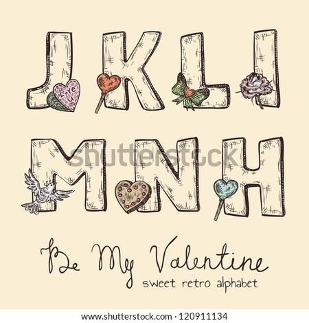 retro valentine alphabet   j  k